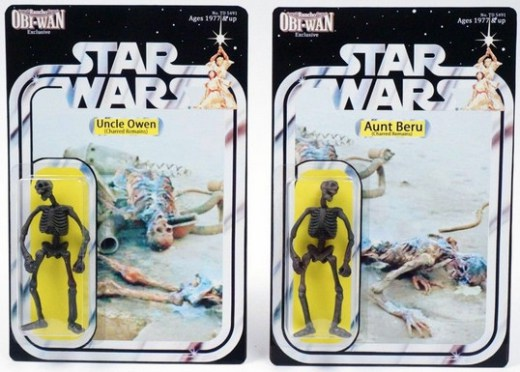 These parody action figures were created by Walt Crowley from Rancho Obi-Wan.